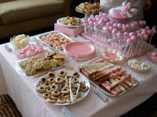 pink and gray baby shower sweets table